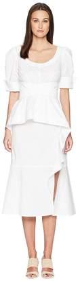 Prabal Gurung Cotton Poplin Geena Short Sleeve Wrap Front Dress w/ Juliet Sleeve Women's Dress