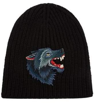 Gucci Wolf Applique Wool Beanie Hat - Mens - Black