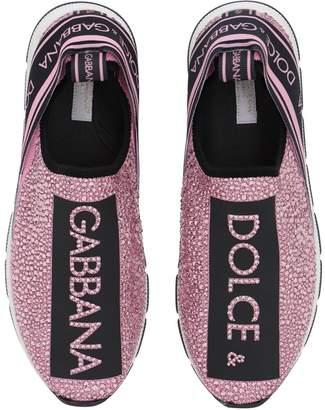 Dolce & Gabbana Neoprene Sneakers W/ Crystals