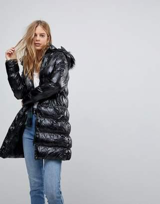 Brave Soul Monroe High Shine Long Padded Coat With Detachable Hood