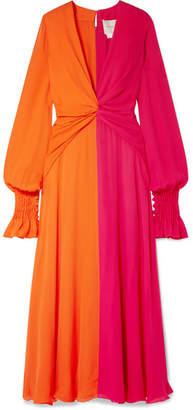 Carolina Herrera Two-tone Gathered Silk-georgette Maxi Dress - Orange