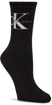 Calvin Klein Women's Retro Logo Short Crew Socks
