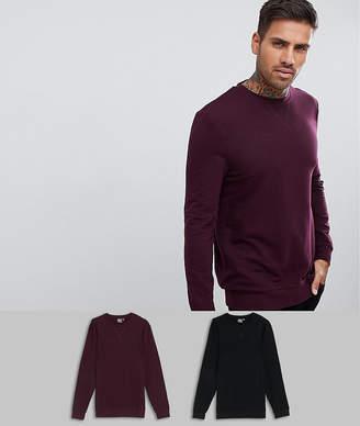 Asos DESIGN muscle sweatshirt 2 pack black/burgundy