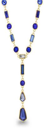 Catherine Malandrino Women Blue Geo Rhinestone Yellow Gold-Tone Y-Style Chain Necklace