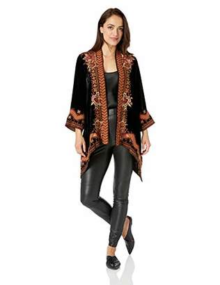 Johnny Was JWLA By Women's 3/4 Sleeve Draped Cardigan with Embroidery