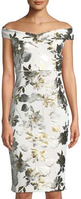 Label By 5twelve Off-The-Shoulder Foiled Floral Sheath Dress