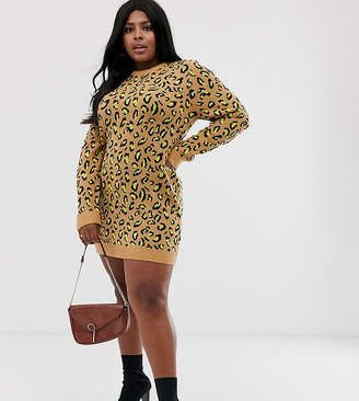 Brave Soul Plus nala neon animal print sweater dress