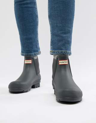 Hunter Chelsea Boots In Gray