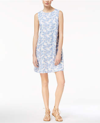 Marella Cotton Stretch Faille Floral-Print A-Line Dress