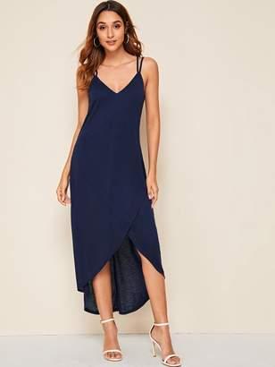 Shein Criss-cross Backless Asymmetrical Wrap Slip Dress