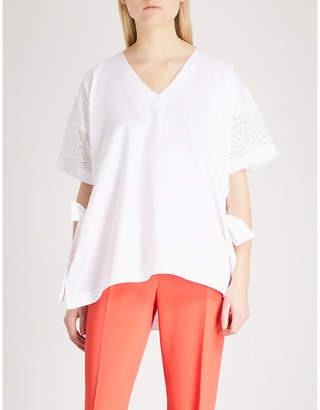 Claudie Pierlot Embroidered side-split cotton-poplin top