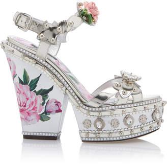 Dolce & Gabbana Embellished Leather Platform Sandals