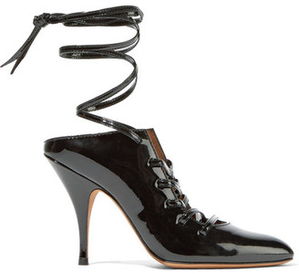 Givenchy Lace-up Patent-leather Mules - Black