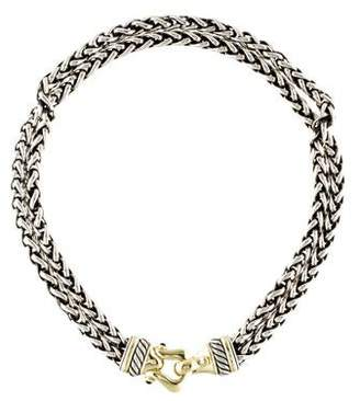 David Yurman Rhodolite Garnet Buckle Wheat Chain Necklace