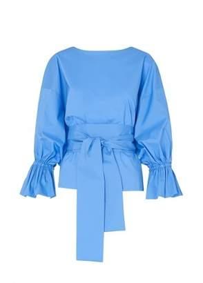 Kitri Tessa Blue Bubble Sleeve Shirt