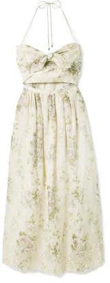 Zimmermann Iris Cutout Floral-print Broderie Anglaise Linen Dress - Ecru