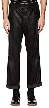 Haider Ackermann Men's Coated Suede Drop-Rise Trousers