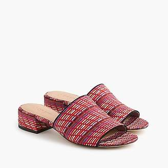 J.Crew Low-heel mules in rainbow raffia