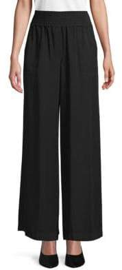 Saks Fifth Avenue BLACK Smocked Wide-Leg Pants