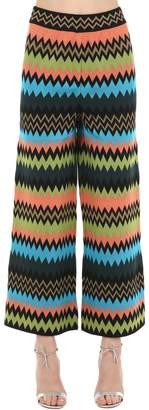 M Missoni Wide Leg Jacquard Wool Blend Pants