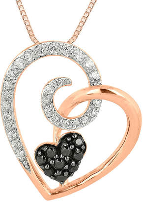 Black Diamond FINE JEWELRY 1/4 CT. T.W. White and Color-Enhanced Heart Pendant Necklace