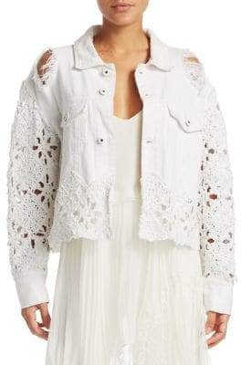 Jonathan Simkhai Macrame Denim Cropped Jacket
