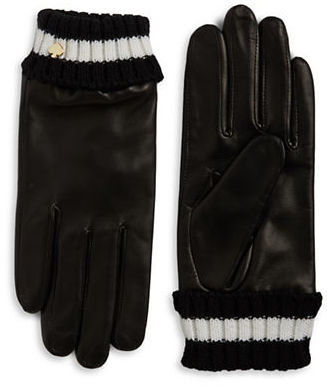 Kate SpadeKate Spade New York Knit Cuff Leather Gloves