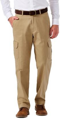 Haggar Men's Flat-Front Stretch Comfort Cargo Expandable Waist Pants
