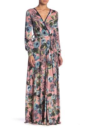 Couture Go Patterned Surplice Maxi Dress