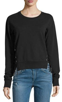 True Religion Lace-Up Sweatshirt, Black $139 thestylecure.com