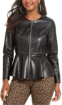 Thalia Sodi Faux-Leather Peplum-Hem Jacket