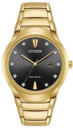 Citizen Paradigm Black Diamond Dial Mens Gold-Tone Watch AW1552-54E