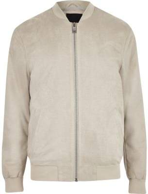 River Island Light grey faux suede bomber jacket