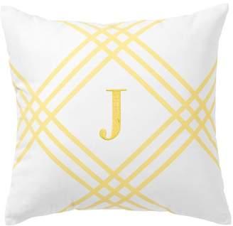 Pottery Barn Teen Printed Frame Monogram Pillow Covers, 16x16, Yellow