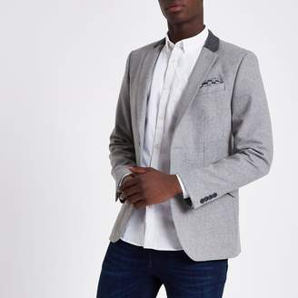 River Island Mens Light Grey contrast skinny fit blazer