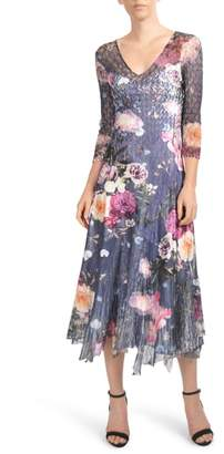 Komarov Foral Print Lace Inset Dress