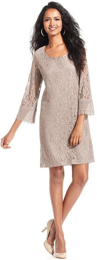 Style&Co. Petite Dress, Three-Quarter-Sleeve Lace Sheath