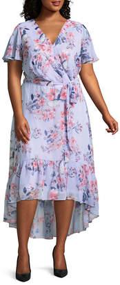 R & K Originals Short Sleeve Floral Maxi Dress - Plus