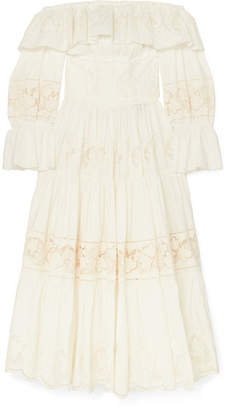 Dolce & Gabbana Off-the Shoulder Tiered Broderie Anglaise Cotton-blend Poplin Midi Dress - White