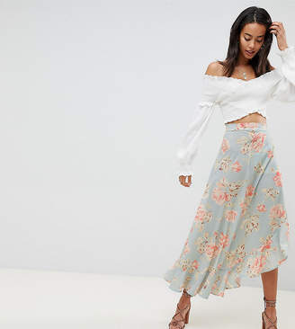 Missguided Tall Floral Ruffle Midi Skirt