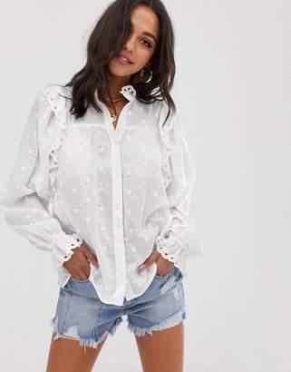 Asos Design DESIGN ruffle long sleeve blouse in broderie