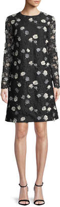 Lela Rose Jewel-Neck Long-Sleeve Floral-Embroidered Lace A-Line Dress