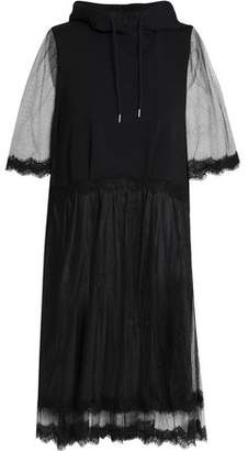 McQ Tulle-Paneled French Cotton-Terry Hooded Mini Dress