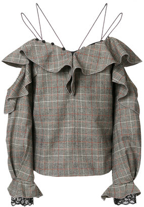 off-the-shoulder tweed blouse