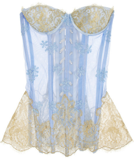 Rosamosario Principessa Flirts embroidered tulle and lace corset