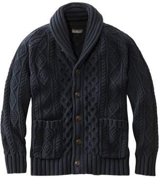 L.L. Bean L.L.Bean Signature Cotton Fisherman Sweater, Shawl-Collar Cardigan