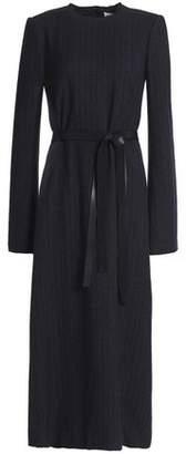 Maison Margiela Belted Pinstriped Wool Midi Dress