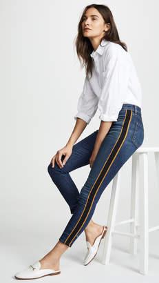 """Veronica Beard Jean Debbie 10"""" Skinny Jeans with Tuxedo Stripe"""