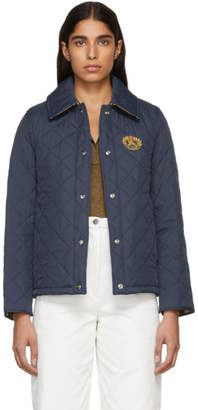 Burberry Navy Short Crest Frinton Jacket