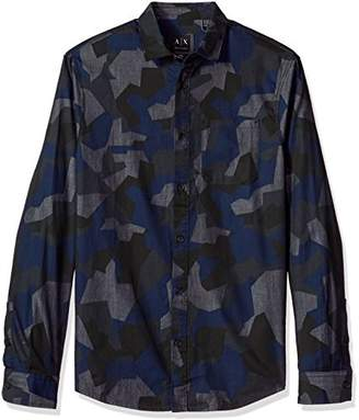 Armani Exchange A|X Men's Camo Long Sleeve Button Down